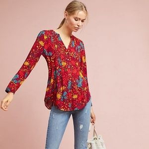 Anthropologie Maeve Printed Pintucked Blouse